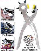 WellieSTR Multi-function Portable Puncher Heavy Duty Leather Hole Punch Hand Pliers Belt Holes Punches (5 Hole Size)With 75pcs Eyelet