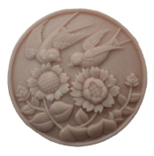 Grainrain Silicone Soap moulds Birds and Chrysanthemum Round White DIY Craft Art Handmade Cold Process Soap Making Mould.