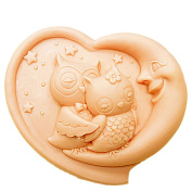 Grainrain Silicone Soap moulds Bird Two Owls Heart Shape White DIY Craft Art Handmade Cold Process Soap Making Mould.