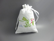 White Linen Gift Bags Drawstring Embroider Green Dragonfly 13cm x 18cm Pack of 2