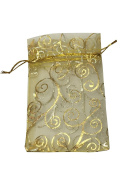 SUNGULF 100Pcs Sheer Organza Drawstring Pouches Vine Wedding Gift Bags Gold Colour 7.6cm x 10cm