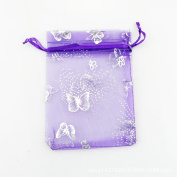 SUNGULF 100Pcs Sheer Organza Drawstring Pouches Butterfly Wedding Gift Bags Blue Colour 7cm x 9cm