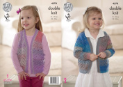 King Cole Girls Double Knitting Pattern - Lace Cardigan & Waistcoat with Ribbed Edges