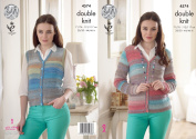 King Cole Ladies Double Knitting Pattern - V Neck Lace Cardigan & Button Up Waistcoat