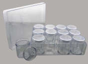 HAWK 12 Plastic Jars With Screw-on Lid In A Clear, Plastic Box