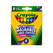 Crayola® Large Washable Crayons, Assorted Colours, Box Of 8 Colours Come In a Tuck Box.
