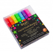 Chalk Markers 3mm 8 pack by Little Star ~ Reversible Liquid Chalk Markers Bold / Chisel Tip ~ wet erasable Chalk Pens for Chalkboards (Non-Porous) Blackboard, Whiteboard, Glass, Bistro