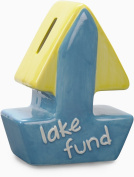 Pavilion Gift Company We Baby Lake Fund Cermaic Sail Boat Piggy Bank, Teal
