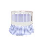 bkb Gingham Round Crib Bedding, Blue