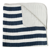 Little Unicorn Cotton Muslin Quilt Blanket - Navy Stripe