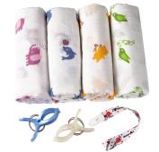 Swaddle Blankets (Super Soft Bamboo) 4 Pack + 4 Bonuses