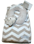 Cosy Baby Blanket with Travel Pillow Set, Elephant Beige