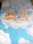 NEW KOREAN STYLE BLUE colour BOY BUNNY & TEDDY BEAR SITTING IN CLOUDs PLUSH MINK BABY BLANKET 110cm X 140cm