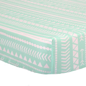 Mint Green Tribal Print 100% Cotton Sateen Fitted Crib Sheet by The Peanut Shell