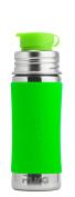 Pura Sport 330ml Stainless Steel Kids Sport Bottle with Silicone Sport Flip Cap, Green