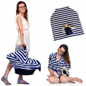 Baby Nursing / Car Seat Cover Stretchy Canopy W / Pocket 3 in 1 Multi-Use Navy Blue / White. Bounos