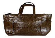 Brunello Cucinelli Gloss Calfskin Leather Bag Cashmere Felt Lined