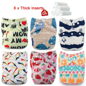 iZiv(TM) Newborn Organic with 6 Thick Inserts Infant Waterproof/Adjustable/Reusable/Washable Pocket Cloth Nappy Fit Babies 0-3 Years