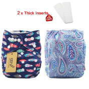iZiv(TM) Newborn Organic with 2 Thick Inserts Infant Waterproof/Adjustable/Reusable/Washable Pocket Cloth Nappy Fit Babies 0-3 Years