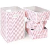 Badger Basket Folding Hamper and 3-Basket Set, Pink Chevron