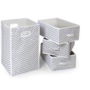 Badger Basket Folding Hamper and 3-Basket Set, Grey Chevron