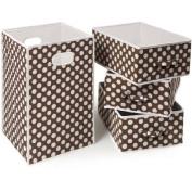 Badger Basket Folding Hamper and 3-Basket Set, Brown Polka Dot