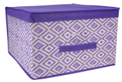 Home Basics Ikat Collection Jumbo Storage Bin with Cover