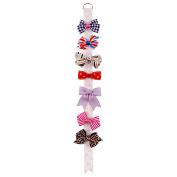 DUOQU 7 Pcs Baby Girl Grosgrain Ribbon Boutique Hair Bows Clips Fashion Hair Accessories Multicolor Value Boutique Set