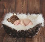 Sunmig Newborn Baby Photo Props Faux Fur Mat Rug Photography Background Backdrops Basket Stuffer Blanket