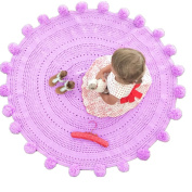 Pom Pom Playmat Handmade From Softest Cottons for Baby in Fun Designs Crochet Blanket Light Purple