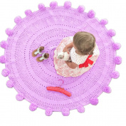 Pom Pom Playmat Handmade From Softest Cottons for Baby in Fun Designs Crochet Blanket Light Purple