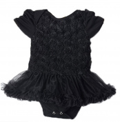 Baby My First Little Black Party Dress Ruffle-skirted Bodysuit Tutu Romper