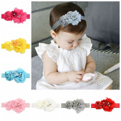 YHXX YLEN 12Pcs 7.6cm Chiffon Flower Hair Bows Bands for Toddlers Babies Children