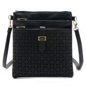 Hibelief Fashion Handbags Hollow Out Cross Body Bag Leather Shoulder Bags Purse