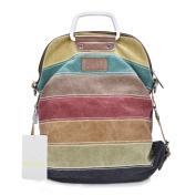 Fashion Lattice Mulitifunction Canvas Handbag Cross Body Should Bag College Backpack for Women