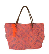 New Look Abstract Geo Print Fringe Tote, Coral Multi