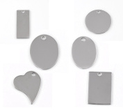 30pcs Silver Tone Stainless Steel Blank Stamping Tags Mixed Shape Charm Pendants 24x17mm-38x16mm