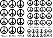 Peace Signs 1.3cm - 2.5cm - Black 14CC389 Fused Glass Decals