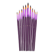 Mudder 12 Pieces Artist Paint Brushes Fine Paint Brush for Acrylic Watercolour Oil Painting, Purple