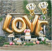 "B-G LOVE (110cm ) and ""I Do"" Diamond Ring (80cm ) Extra Large Balloon Set, Romantic Wedding, Bridal Shower, Anniversary, Engagement Party Décor, Vow Renewal H007"