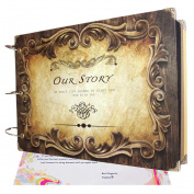 Scrapbook Albums Vintage DIY Photo Albums Our Story 25cm x 18cm with Scrapbooking Stickers for Gift, Wedding Guest Book