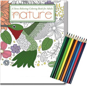 NEW! Nature, Stress Relieving Colouring Book for Adults with Colouring Pencils