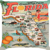 Cushion cover throw pillow case 46cm retro vintage Florida map sightseeing tour sites beach sea cruise fruits sunshine vacation both sides image zipper