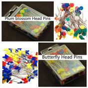 Kelier Multi Colour Plum Blossom Head Pins Butterfly Head Straight Pins Set of 2,A total of 200-Count