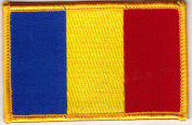 ROMANIA FLAG w/GOLD BORDER/Iron On Patch Applique/Romanian National Flag