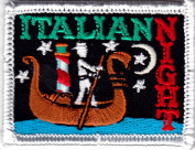 """ITALIAN NIGHT"" - IRON ON EMBROIDERED PATCH/Food, Dinner, Italian, Pasta"