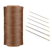 AntKits 284 yards 150D 0.8mm Flat Leather Waxed Thread Cord and 12 pcs Stitching Needles with Big Pinhole for Leather Factory or Leathercraft DIY, Brown