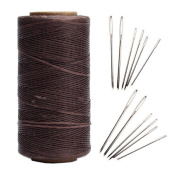 AntKits 284 yards 150D 0.8mm Flat Leather Waxed Thread Cord and 12 pcs Stitching Needles with Big Pinhole for Leather Factory or Leathercraft DIY, Deep Coffee