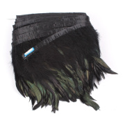 AWAYTR® Rooster Hackle Feather Fringe Trim 13cm - 15cm in Width Pack of 5 Yards