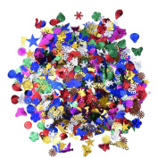 Blulu 100 g Mixed Sequins Assorted Shapes, Colours and Sizes